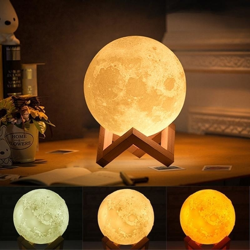 3D Moon Lamp IndiaMoon Shaped LampLed Moon LampLunar Moonlight Lamp - Multi Color