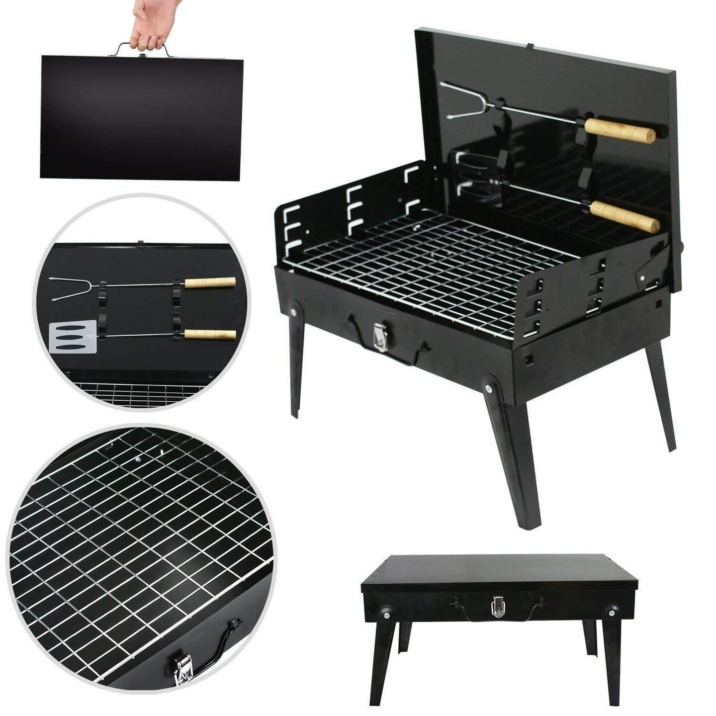 Stainless Steel Briefcase Style Barbecue Grill Toaster Medium, Black