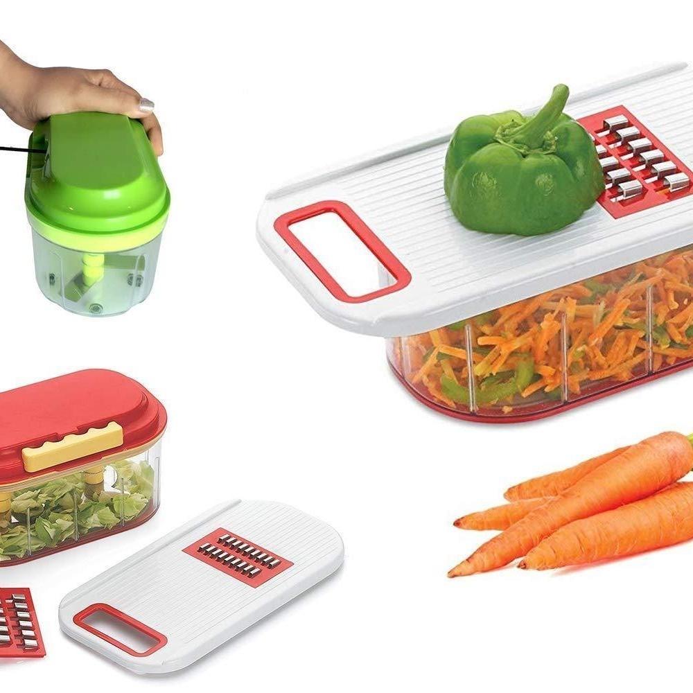 Plastic Vegetable Chopper Set 3 Pcs, Orange