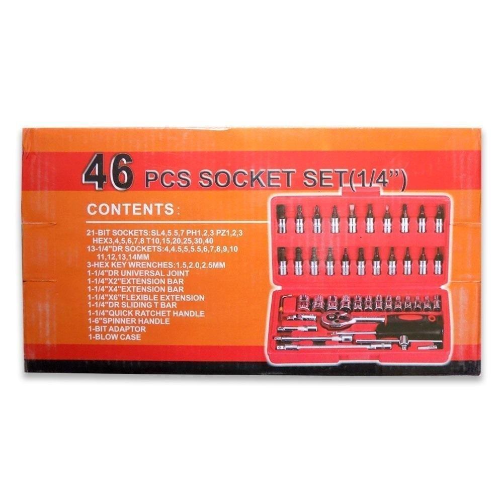 Socket 14 Inch Combination Repair Tool Kit Red, 46 pcs