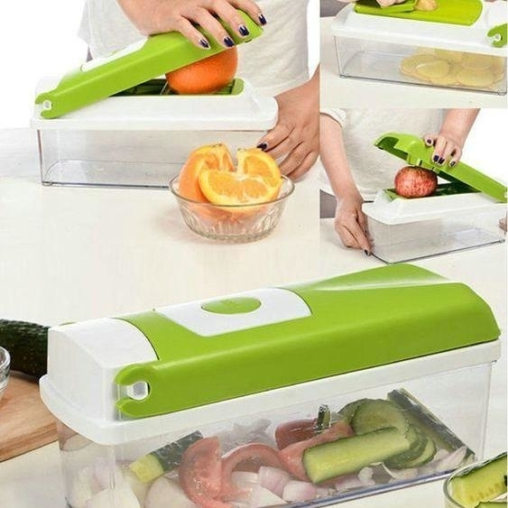 12 in 1 Magic Super Dicer Fruit Cutter Vegetable CHIPSER Unbreakable New Push & Clean