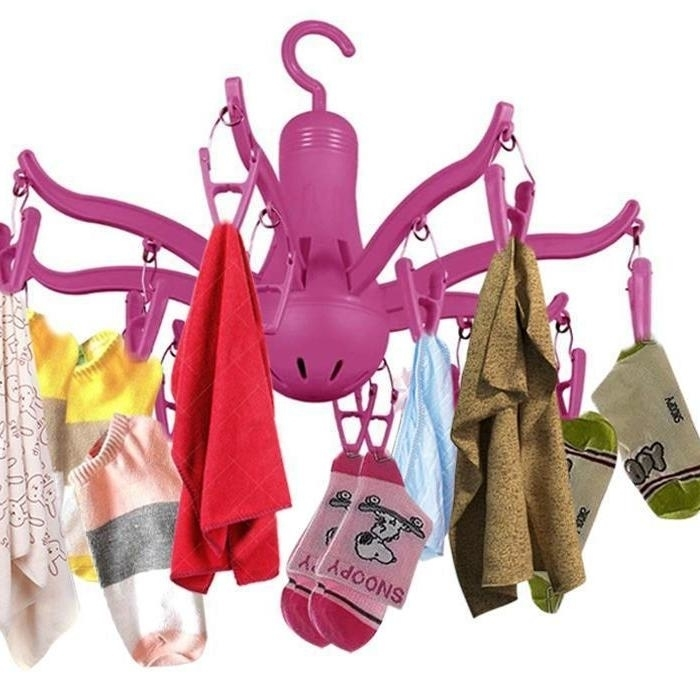 8-Claw Octopus Hanging Dryer 16 Clothes pegs, Simple to fold up and Put Away