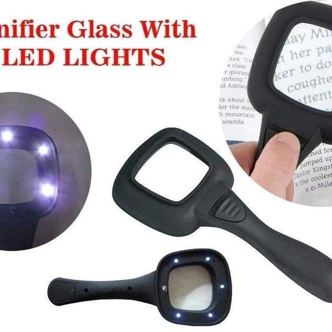 Hand Held Optical Grade Magnifying Glass with 6 LED Lights