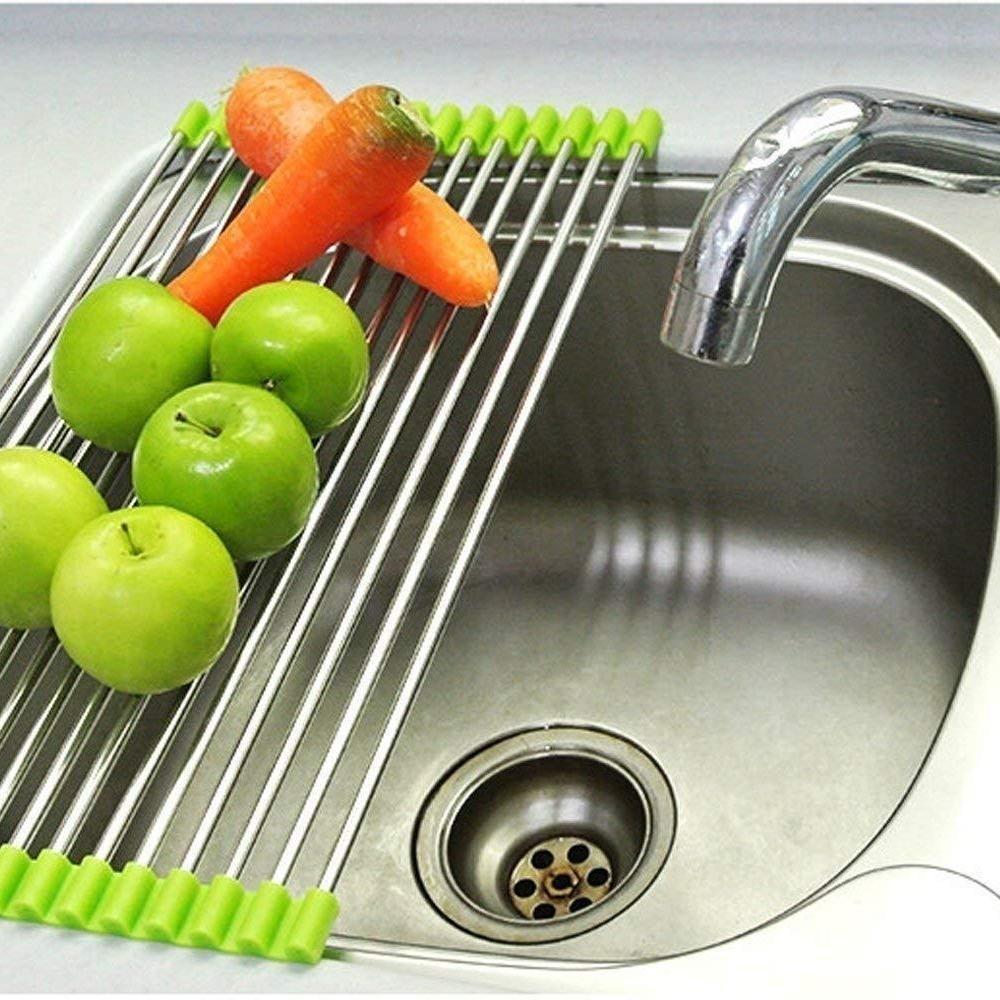 Stainless Steel Sink Folding Fruit Vegetable Drying Drain Rack Dish Drying Rack, Stainless Steel Roll-Up Over Sink Rack Kitchen Foldable Drying Drainer