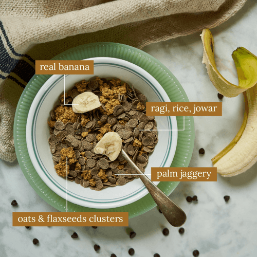 Monsoon Harvest Choco Chip Oat Clusters And Ragi Flakes With Banana 350G