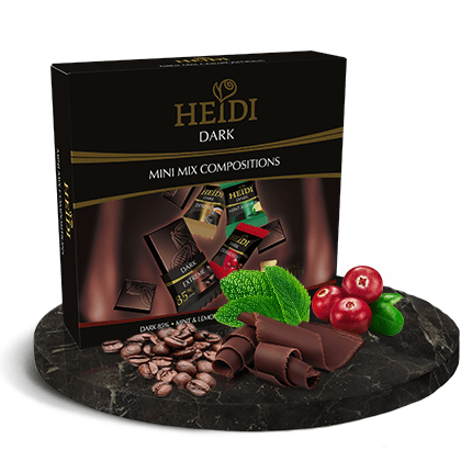 Heidi Dark Assorted Chocolate Mini Bites - Individually Wrapped 36 x 5gm Tablets Dark 85 Mint and Lemon Espresso and Cranberry in an attractive Gift Box