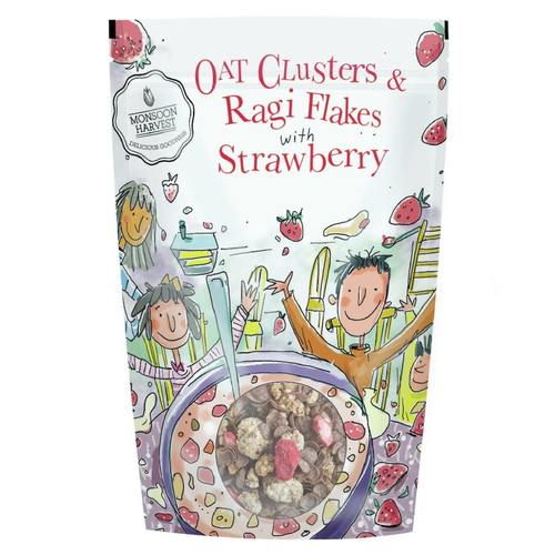 Monsoon Harvest Oats Clusters And Ragi Flakes With Strawberry 350G