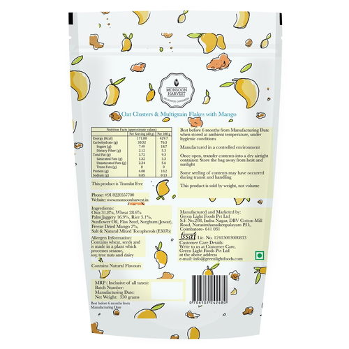Monsoon Harvest Oats Clusters And Multigrains Flakes With Mango 350G