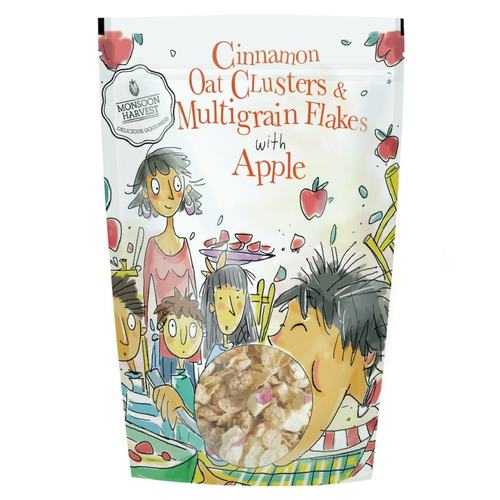 Monsoon Harvest Cinnamon Oat Clusters And Multigrain Flakes With Apple 350G