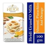 Heidi GrandOr white Chocolate with whole caramelized Almonds, Pistachios and Orange