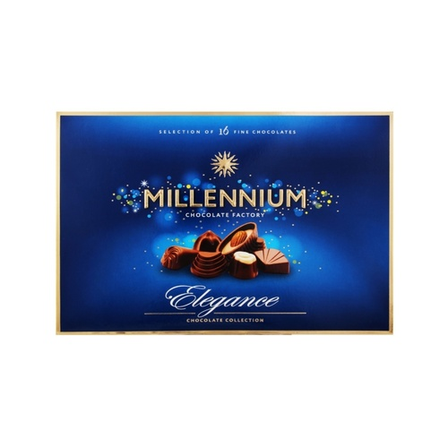 Millennium Elegance Delicate Milk Chocolate with Assorted Exclusive Fillings.