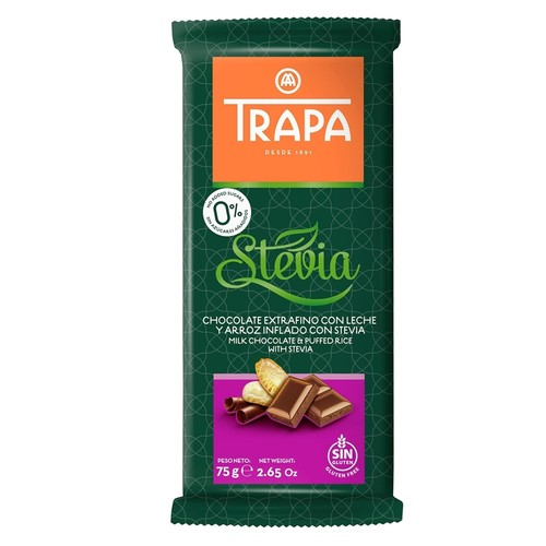 Trapa Sugar Free Milk Chocolate With Stevia - Gluten Free 75gm