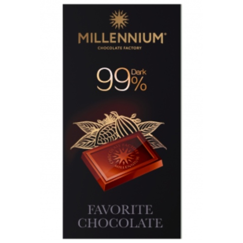 Millennium 99% Dark Chocolate Bar 100G