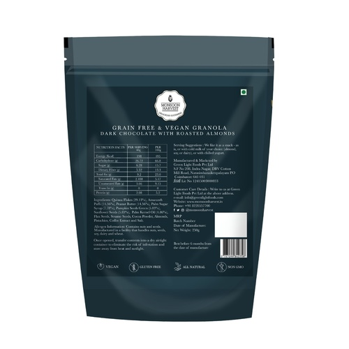 Monsoon Harvest Grain Free And Vegan Granola - Dark Chocolate With Roasted Almond 250G