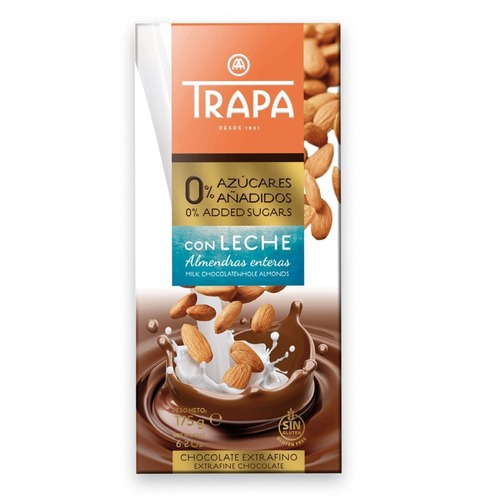 Trapa Milk Chocolate With Whole Almonds With 0% Added Sugar 175g
