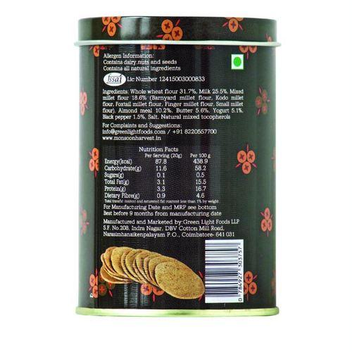 Monsoon Harvest Buttermilk & Millet - Cracker Black Pepper 1 X 100G