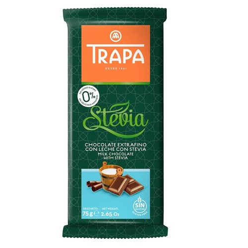Trapa Sugar Free Milk Chocolate With Stevia - Gluten Free