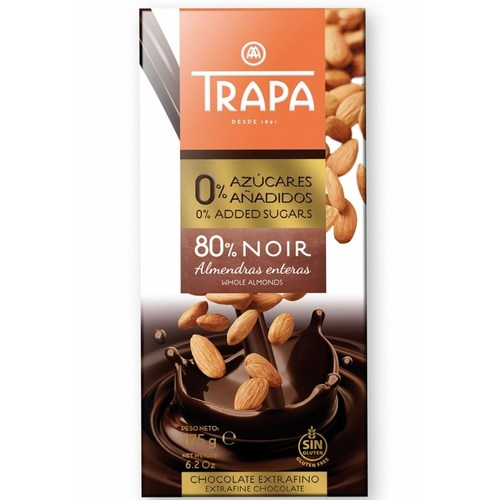 Trapa 80 Dark Chocolate With Whole Almonds With 0 Added Sugar 175g
