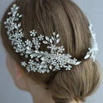 Crystal Bridal Headpiece Barrettes Hair Clips Vine Rhinestone Floral
