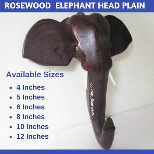 Rosewood  Elephant Head Plain  Coat Hanger