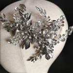 Crystal  Antique Silver Leaves Wedding Headpiece