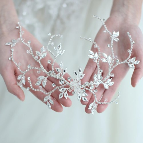Silver Crystal Bridal Headpiece Delicate Leaf Vine