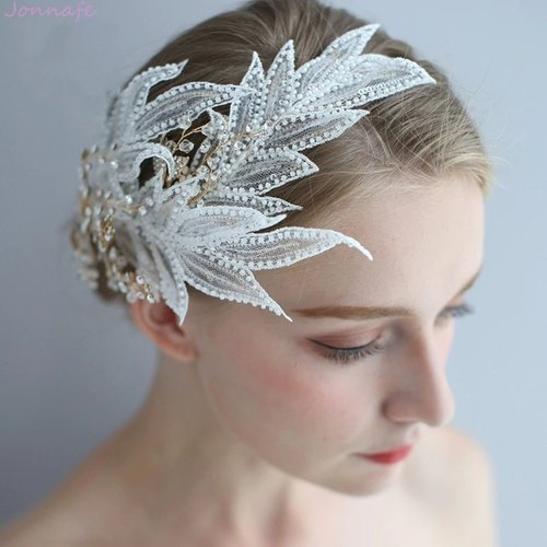 Lace Leaf Bridal Crown Hair Jewelry Handmade