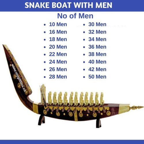 Snake Boat with Men Rosewood