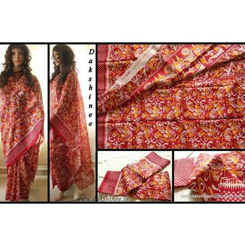 DKC1SKA2-MUR002-P- Block Printed Silk Saree