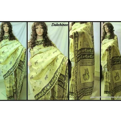 DKC1SKA2-VIW018-P -  Hand block printed Vishnupuri Silk Saree
