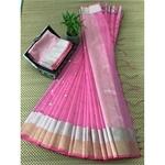 DJB04-  Plain Linen Silk Saree with Silver Jari Border Saree