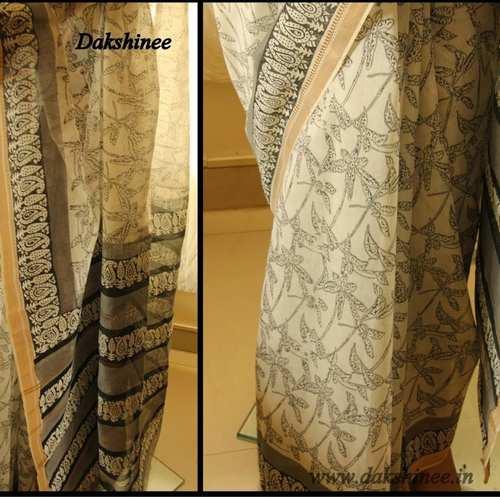 DKC1SCA2- KOB044 - Kora Silk Cotton Block printed Saree