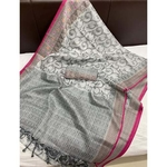 DKM02 - Kora Muslin Saree with Jacquard woven pallu