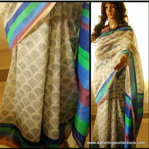 DKC1SCA2- KOW030 - Kora Silk Cotton Block printed Saree