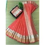 DJB08-  Plain Linen Silk Saree with Silver Jari Border Saree