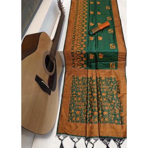 DRS06 - Raw Silk Saree with kalamkari woven Pallu
