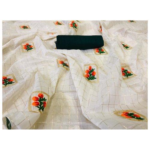 DFM01 - Fabric Modal cotton checks saree with banglori Silk blouse