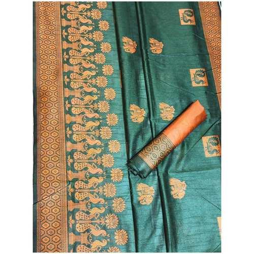 DRS09 - Raw Silk Saree with kalamkari woven Pallu