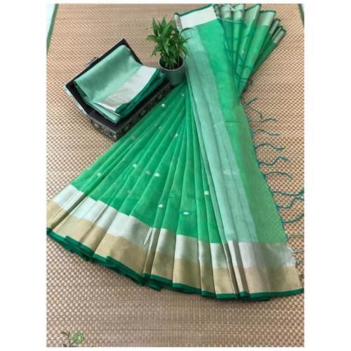 DJB06-  Plain Linen Silk Saree with Silver Jari Border Saree