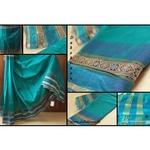 DKC1SCA9-SCG005-P - designer bordered silkcotton saree