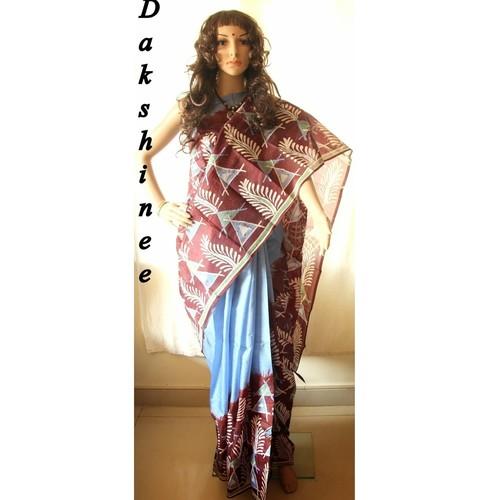 DKC1SKA3-MUB023-P - Hand batik painted Silk Saree