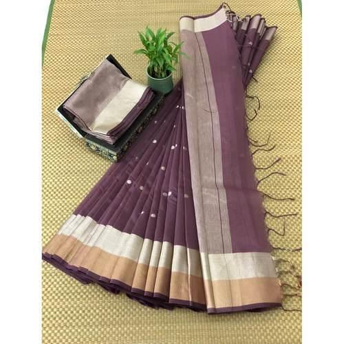 DJB09-  Plain Linen Silk Saree with Silver Jari Border Saree