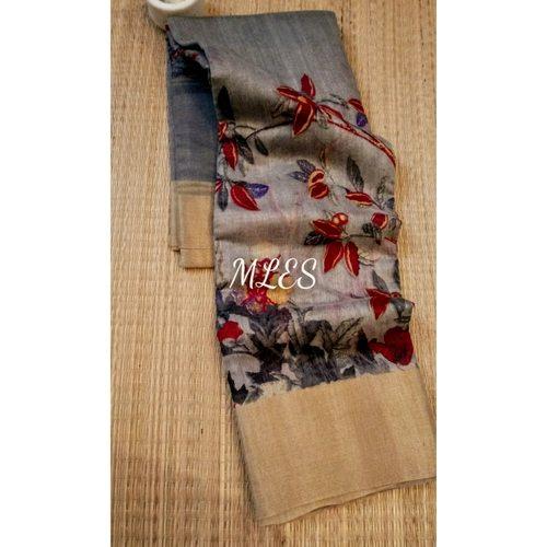 DLS16- Floral Linen Silk Sarees