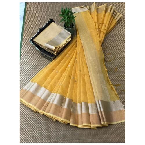 DJB01-  Plain Linen Silk Saree with Silver Jari Border Saree