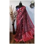 DKKS33 - Linen Saree with Ikkat Digital Print