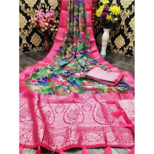DJL02-  Jacquard Linen Silk Sarees
