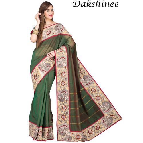 DKC1SCA11-SCG052 - Designer Kalamkari bordered Silkcotton saree