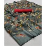 DKSL04 - Soft Linen FLoral Silk Saree