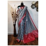 DKKS37 - Linen Saree with Ikkat Digital Print