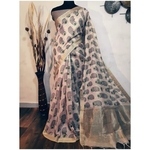 DKKS42 - Linen Saree with Ikkat Digital Print